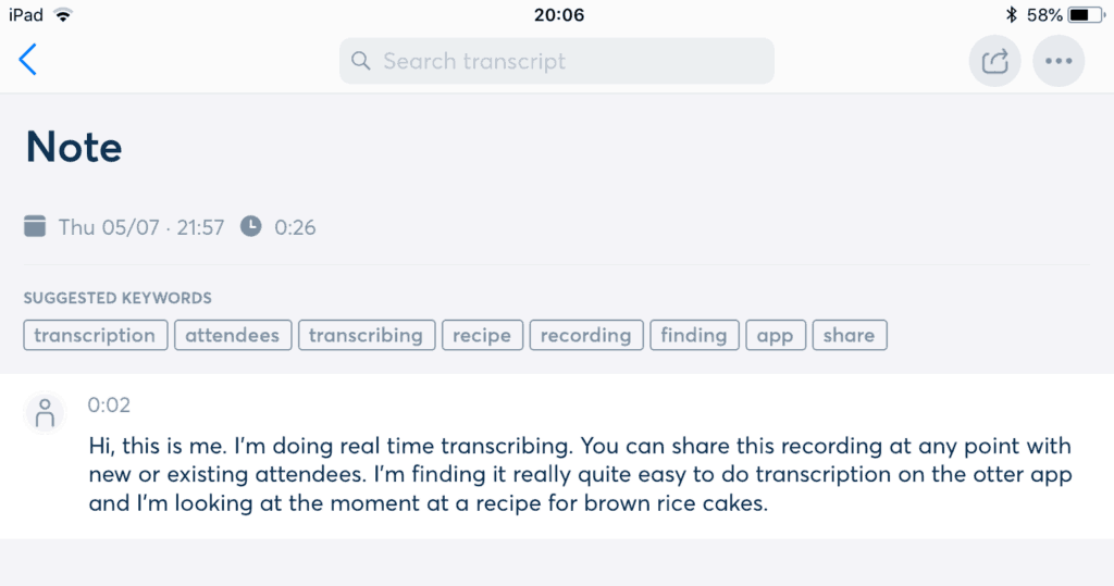 Otter.ai voice recording software results