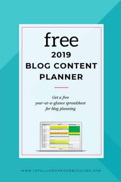 Free 2019 blog content planner